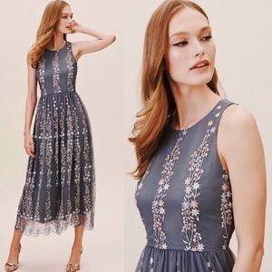 NWT BHLDN Floral Embroidered Holiday Parsons Dress